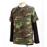 ドライクール ナイス カモフラ半袖 Tシャツ&ロング Tシャツ2枚 セット( 迷彩) ウッドランド XL