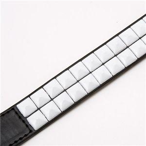 レザースタッズベルト 25mm クロ‐白スタッズ