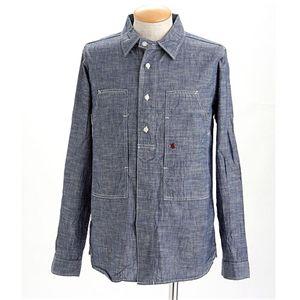 HOUSTON シャンブレーマリンシャツ ブルーLサイズ