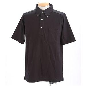 クールビズボタンダウンドライメッシュポロシャツ ブラック 3L h01