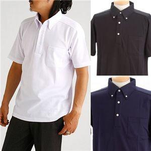 クールビズボタンダウンドライメッシュポロシャツ ブラック 3L h02