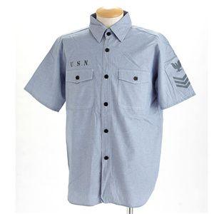 アメリカ海軍(米軍) シャンブレーシャツレプリカ ブルー Lサイズ