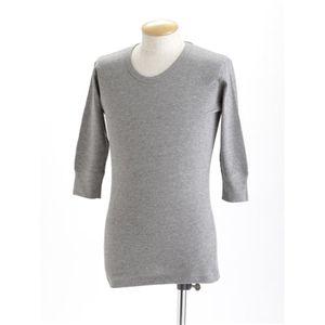 ワッフル5分袖 Tシャツ ビンテージ風ヘザー XL h01