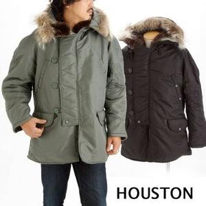 【メンズ】 HOUSTON(ヒューストン) N-3Bジャケット リアルラクーンファー セージ L - 拡大画像
