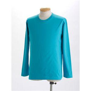 ユニセックス長袖 Tシャツ L ターコイズ ブルー
