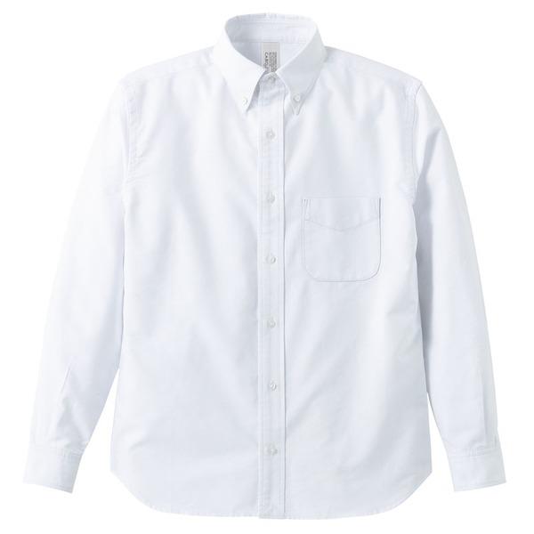 オックスフォードボタウンダウンワンウォッシュ長袖シャツ OXホワイト Lサイズf00