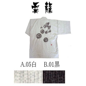 京都手描き絵甚平龍/白M