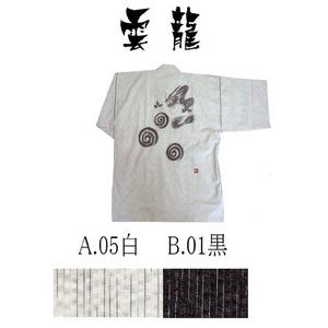 京都手描き絵甚平  龍/白 L h01