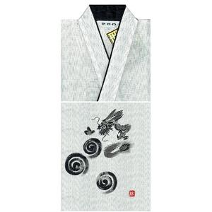 京都手描き絵甚平  龍/白 L h03