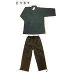紬織作務衣(つむぎおりさむえ)【同色上下セット】茶灰小縞L