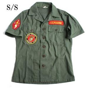 アメリカ軍 OG-107 ファティーグシャツ/半袖 【 15/Mサイズ 】 柄/MARINE 【 カスタム 】