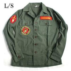 アメリカ軍 OG-107 ファティーグシャツ/長袖 【 15/Mサイズ 】 柄/MARINE 【 カスタム 】
