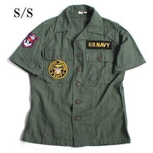 アメリカ軍 OG-107 ファティーグシャツ/半袖 【 15/Mサイズ 】 柄/NAVY 【 カスタム 】