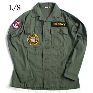 アメリカ軍 OG-107 ファティーグシャツ/長袖 【 14 1/2 Sサイズ 】 柄/NAVY 【 カスタム 】