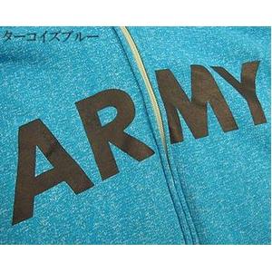 米軍ARMYスウェットパーカー レプリカ 後染ターコイズブルー XS