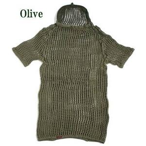 ノルウェー軍放出 ネットシャツ 後染め中古 オリーブ M相当 - 拡大画像