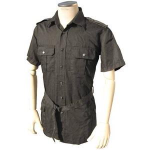 イタリア軍放出 サファリーシャツ 中古 ブラック 後染め 《S〜M相当》 - 拡大画像