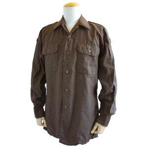 ドイツ軍放出 BW フィールドシャツ・後染め ブラウン JS001ND GR.3(L)【デットストック】 - 拡大画像