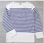 フランスタイプ ボーダーシャツ JU048YN ホワイト×ブルー S 【 レプリカ 】 【 新品 】
