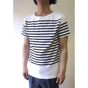 フランスタイプ ボーダーシャツ 半袖 3色 JT043YN ホワイト×ネイビー S 【 レプリカ 】
