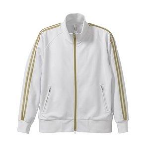 ライン入りジャージ ラグランスリーブジャケット CB1995 ホワイト/ゴールド XS h01
