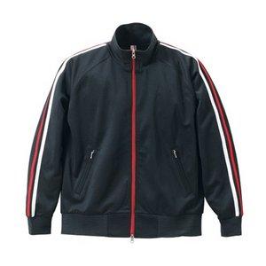 ライン入りジャージ ラグランスリーブジャケット CB1995 ブラック/ホワイト/レッド XS
