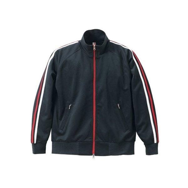ライン入りジャージ ラグランスリーブジャケット CB1995 ブラック/ホワイト/レッド Lf00