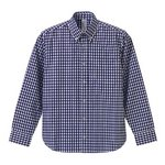 クールマックスボタンダウン長袖チェックシャツ CB1276  ネイビーチェック  XL
