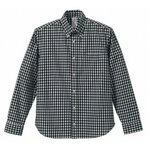 クールマックスボタンダウン長袖チェックシャツ CB1276  ブラックチェック  M
