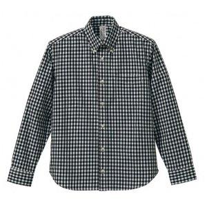 クールマックスボタンダウン長袖チェックシャツ CB1276  ブラックチェック  XL - 拡大画像