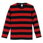 ボールドボーダーロングスリーブTシャツ CB5519 ブラック&レッド   L