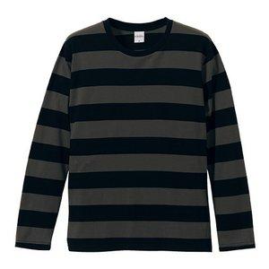 ボールドボーダーロングスリーブ Tシャツ CB5519 ブラック&チャコール L h01