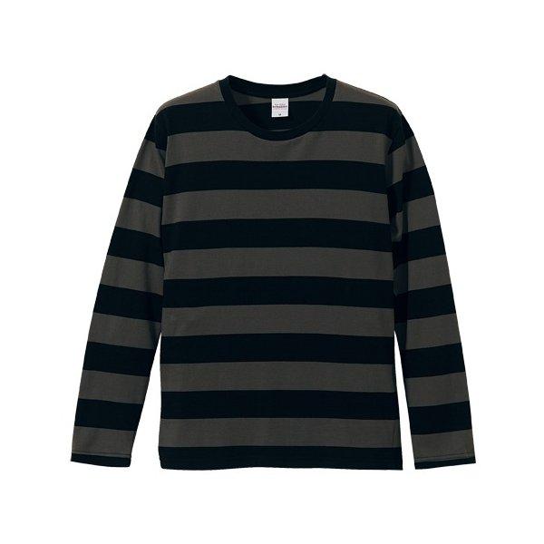 ボールドボーダーロングスリーブ Tシャツ CB5519 ブラック&チャコール Lf00