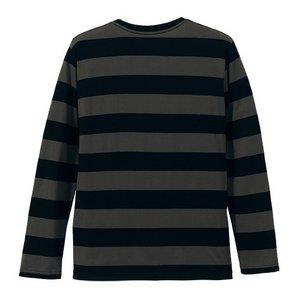 ボールドボーダーロングスリーブ Tシャツ CB5519 ブラック&チャコール L h02