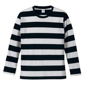 ボールドボーダーロングスリーブ Tシャツ CB5519 ブラック&チャコール L f04