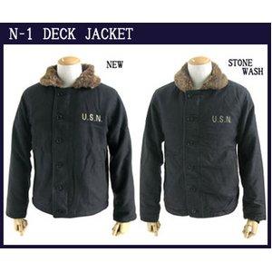 USタイプ 「N-1」 DECK JACKET 《ストーンウォッシュ加工》 JJ105YNWS ブラック 34(S)サイズ 【レプリカ】 - 拡大画像