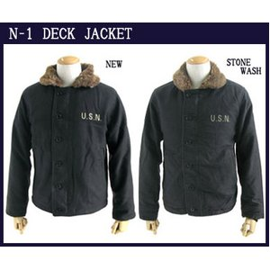 USタイプ 「N-1」 DECK JACKET 《ストーンウォッシュ加工》 JJ105YNWS ブラック 40(XL)サイズ 【レプリカ】 - 拡大画像