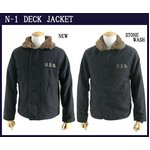 USタイプ 「N-1」 DECK JACKET 《ストーンウォッシュ加工》 JJ105YNWS ブラック 40(XL)サイズ 【レプリカ】