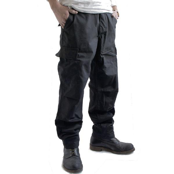 アメリカ軍 BDU カーゴパンツ /迷彩服パンツ  Sサイズ  リップストップ YN521007 ブラック  レプリカ