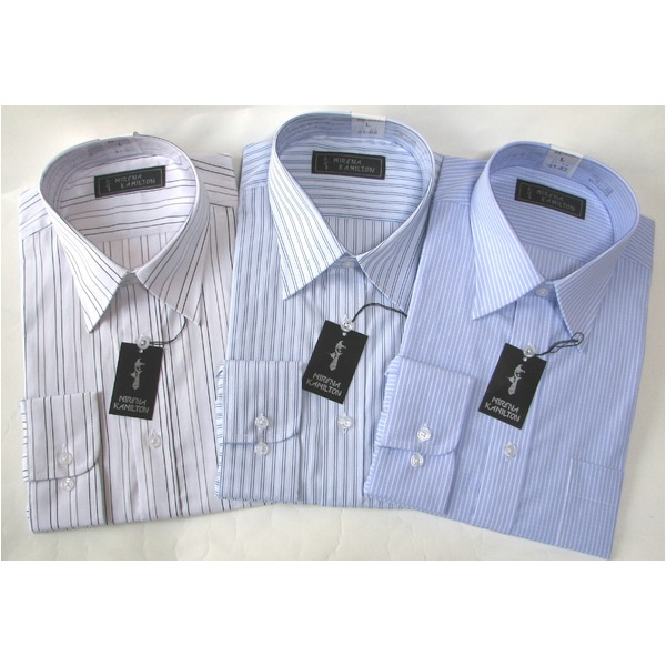 メンズビジネスストライプ ワイシャツ 長袖 LLサイズ 【 3点お得セット 】 f00