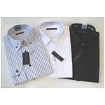 メンズビジネス白&ボタウンダウン ストライプ&ブラック ワイシャツ 長袖 LLサイズ【3点お得セット】