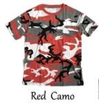 カモフラージュ Tシャツ( 迷彩 Tシャツ) JT048YN レッド カモ Sサイズ