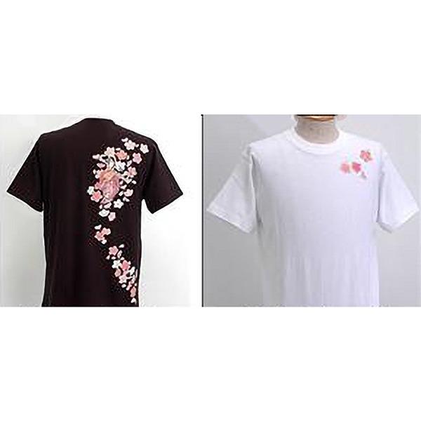 浮き出る立体プリント和柄!幸せの七福神Tシャツ (半袖) 1998・弁財天 黒 Mf00