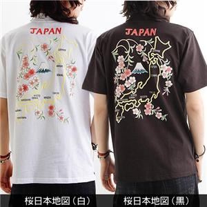 背中で語れる スカ柄ポロシャツ 2010・桜日本地図 白 L h02