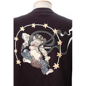 語れる立体和柄ロングTシャツ S-1469/ガンマン雷神 LL h02