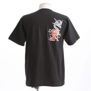 むかしむかし ワンピースコレクション 和柄半袖Tシャツ  S-2438/チョッパー双龍 黒L h03