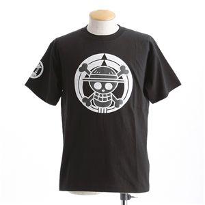 むかしむかし ワンピースコレクション 和柄半袖Tシャツ  S-2450/家紋海賊旗 黒3L - 拡大画像