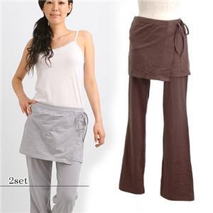 こんなカタチを待ってたの♪ラップスカート付ヨガパンツ 2枚組 L - 拡大画像