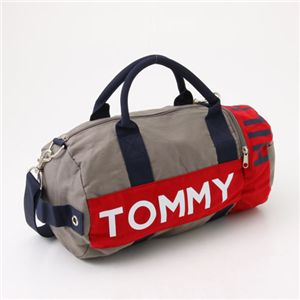 TOMMY HILFIGER(トミーフィルフィガー) ミニボストン HARBOUR POINT I 021・Gray×Red