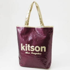 KITSON(キットソン) スパンコール トートバッグ 003601・Burgandy×Gold - 拡大画像